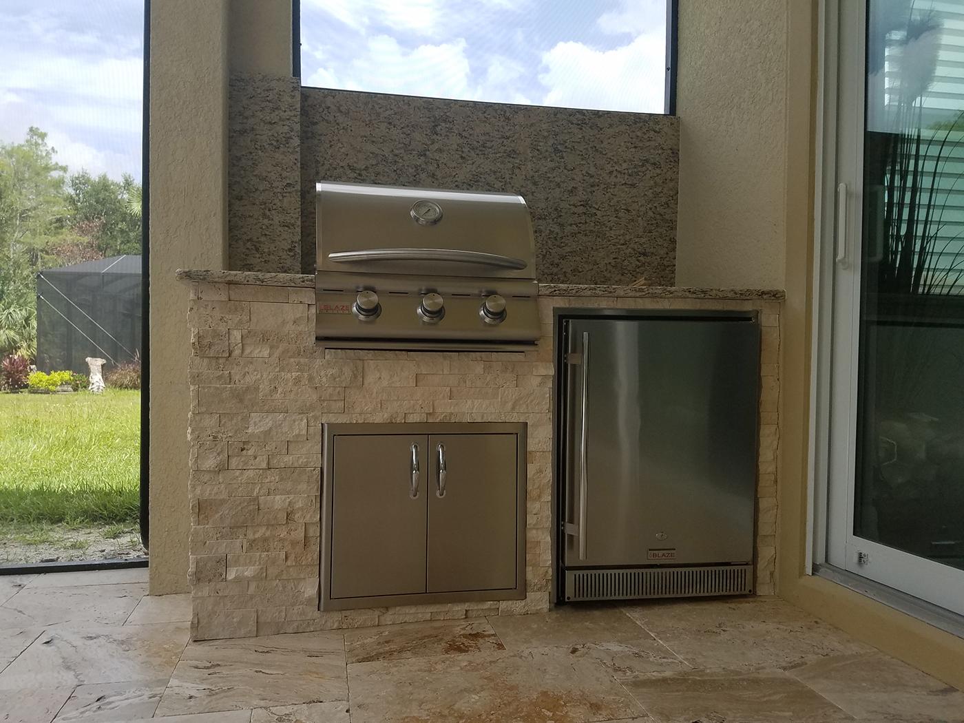 Outdoor kitchen on a lanai patio extension elegant for Outdoor kitchen designs florida