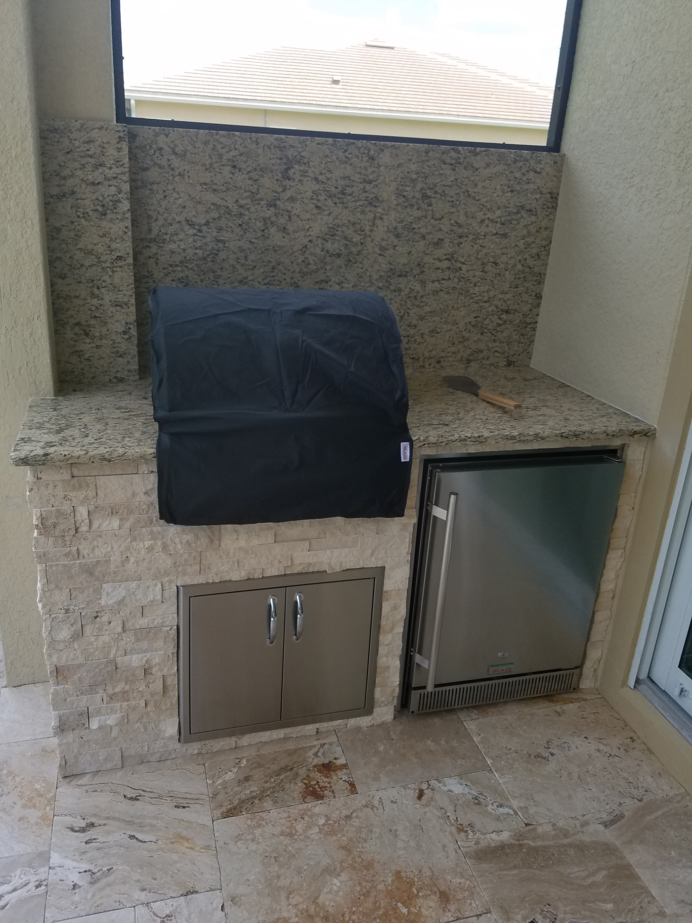 Built In Grill: Outdoor Kitchen On A Lanai Patio Extension
