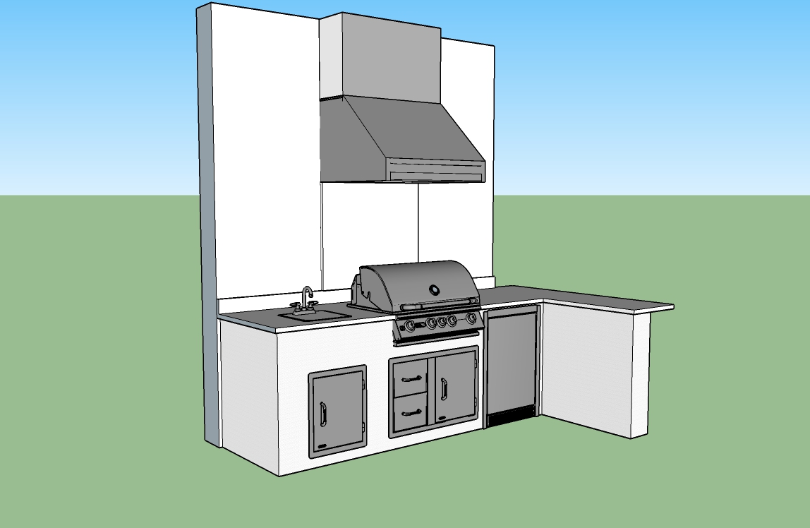 The light dreamy custom outdoor kitchen elegant for Outdoor kitchen cad drawings