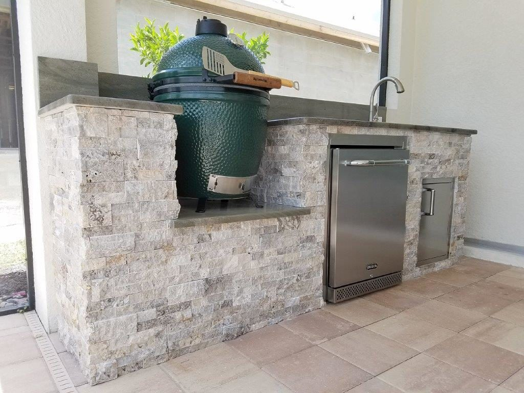 Custom Outdoor Kitchen with Big Green Egg Kamado Style Grill by Elegant Outdoor Kitchens of Fort Myers, Florida
